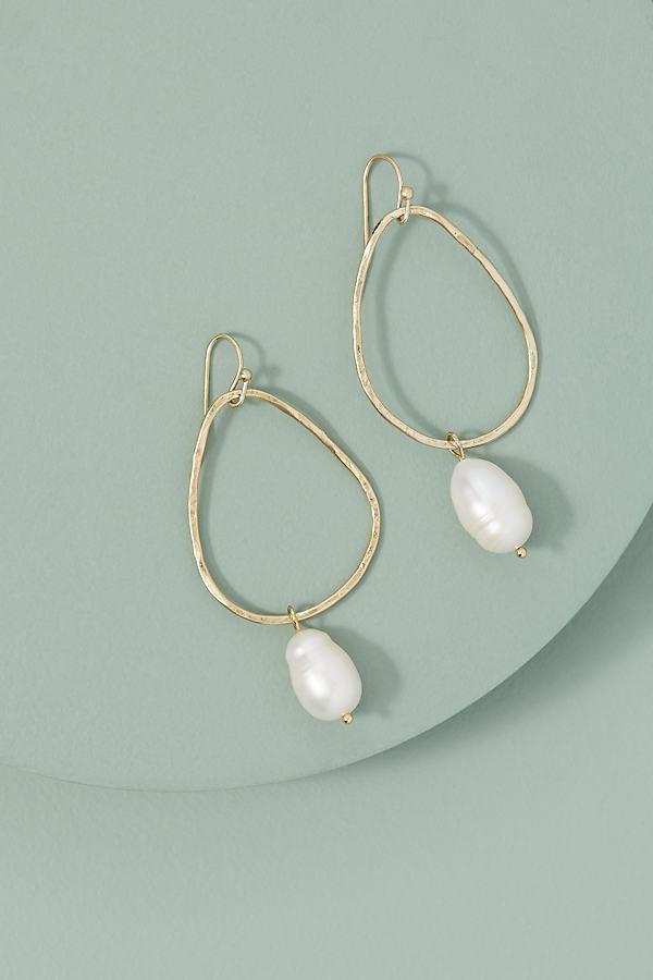 Pearl-Drop Hoop Earrings - White