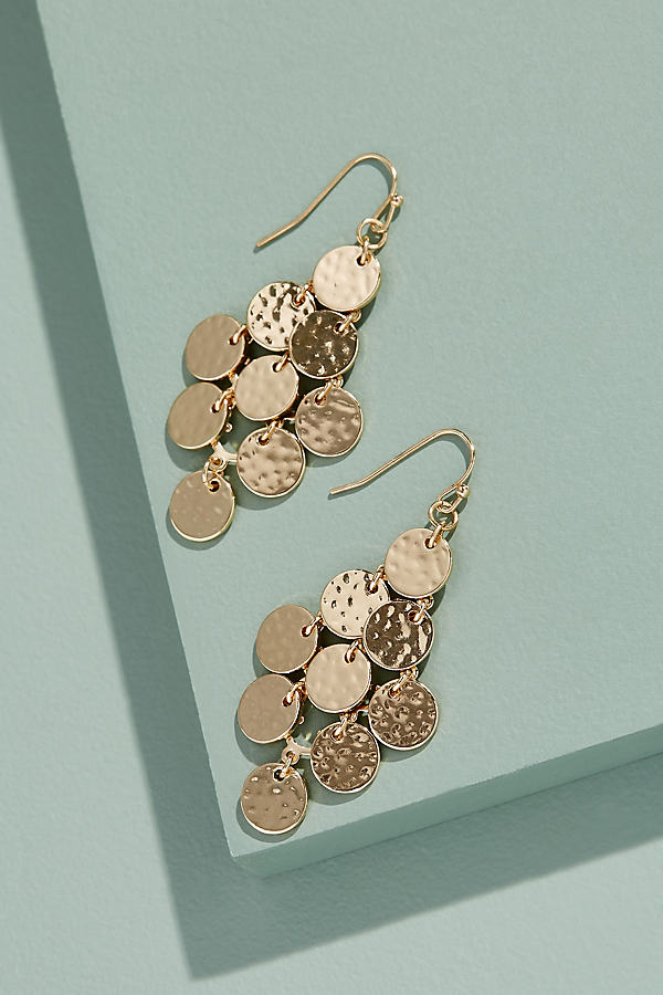 Hammered-Disc Chandelier Earrings - Gold