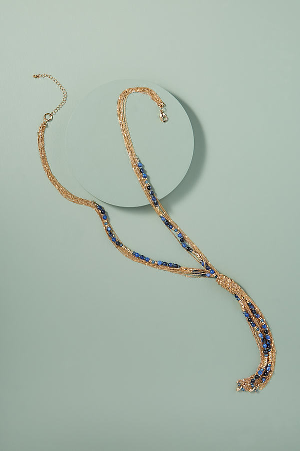 Layered Tasselled-Beaded Necklace - Blue