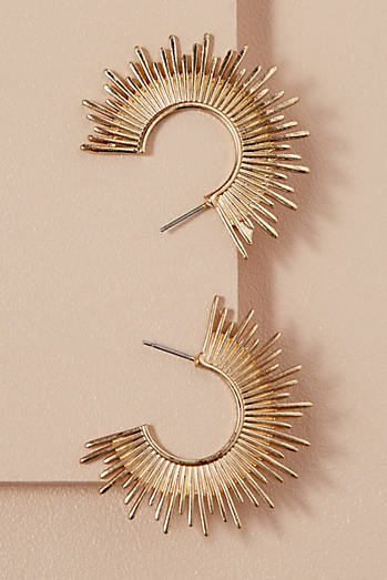 Gold Sunburst Hoops