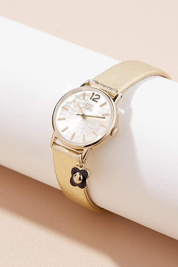 Orla Kiely Camille Leather Watch - Gold