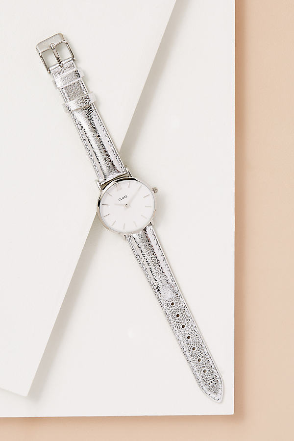 Cluse Darwin Leather Watch - Silver