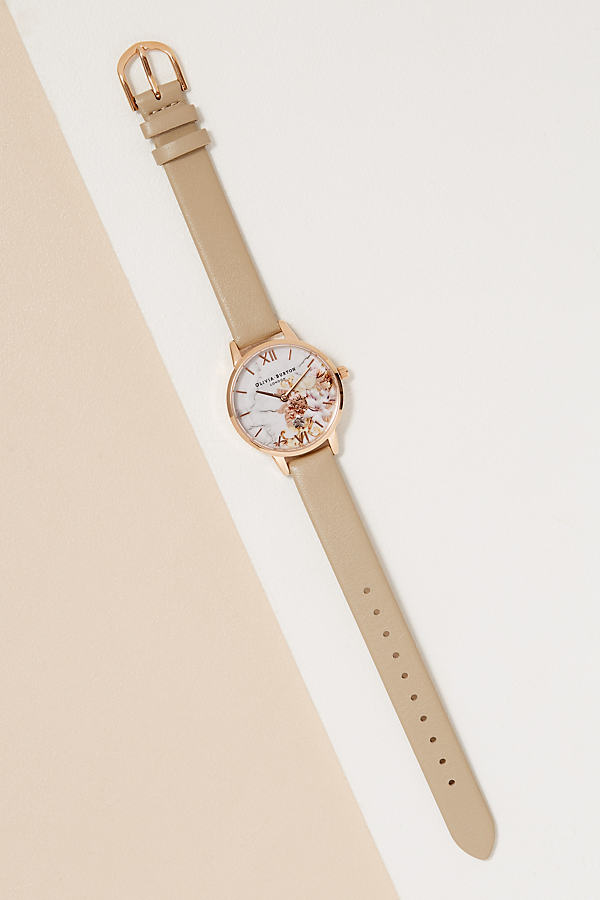 Olivia Burton Floral Leather Watch - Sand