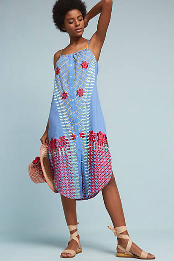 Palisades Embroidered Midi Dress, Blue