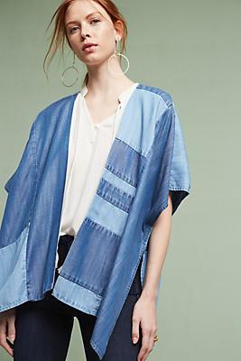 Slide View: 1: Denim Patchwork Kimono