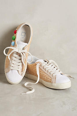 Slide View: 1: D.A.T.E. Hill Low Raffia Pompom Sneakers