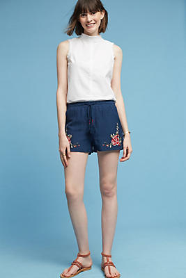 Slide View: 3: Floral Embroidered Shorts