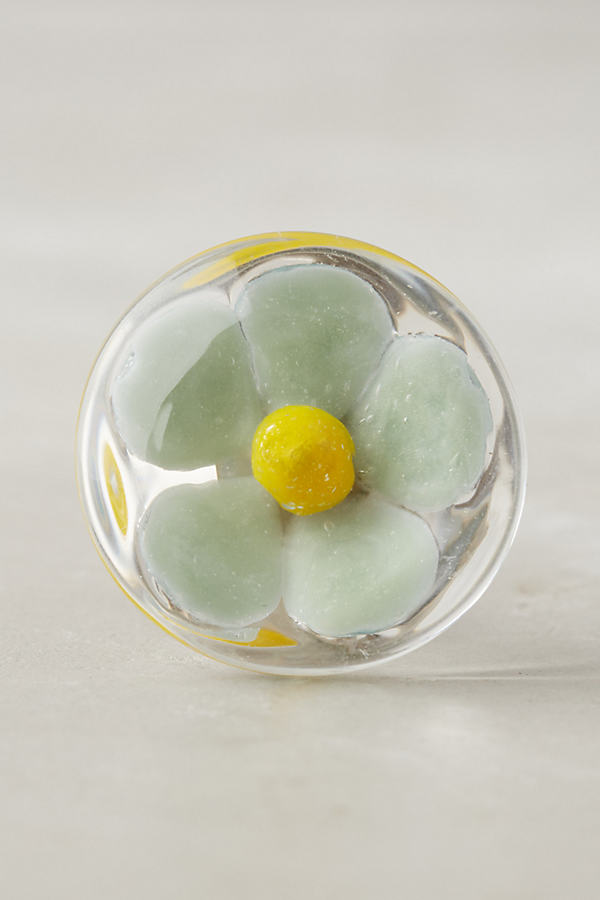 Glass Flower Knob - Mint