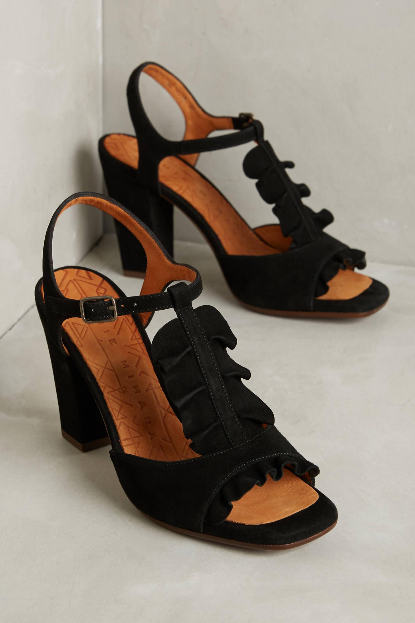 Chie Mihara Ruffled T-Strap Heels