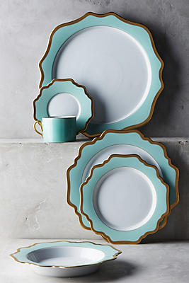 Slide View: 2: Anna's Palette Aqua Green Dinner Plate
