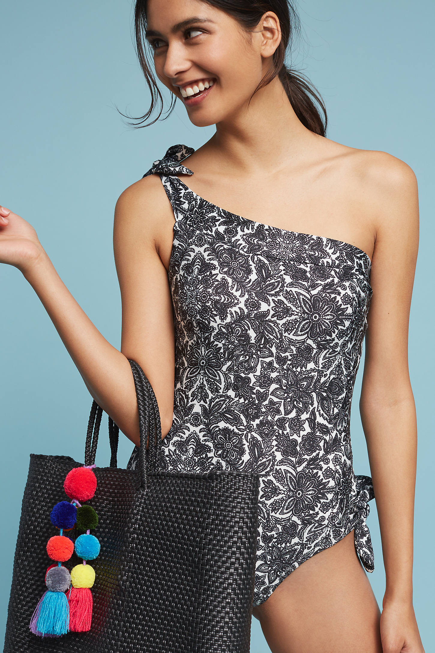 Printed Tie-Shoulder One-Piece