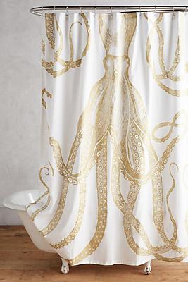 Slide View: 1: Golden Octopus Shower Curtain