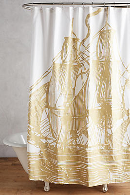 Slide View: 1: Golden Ship Shower Curtain