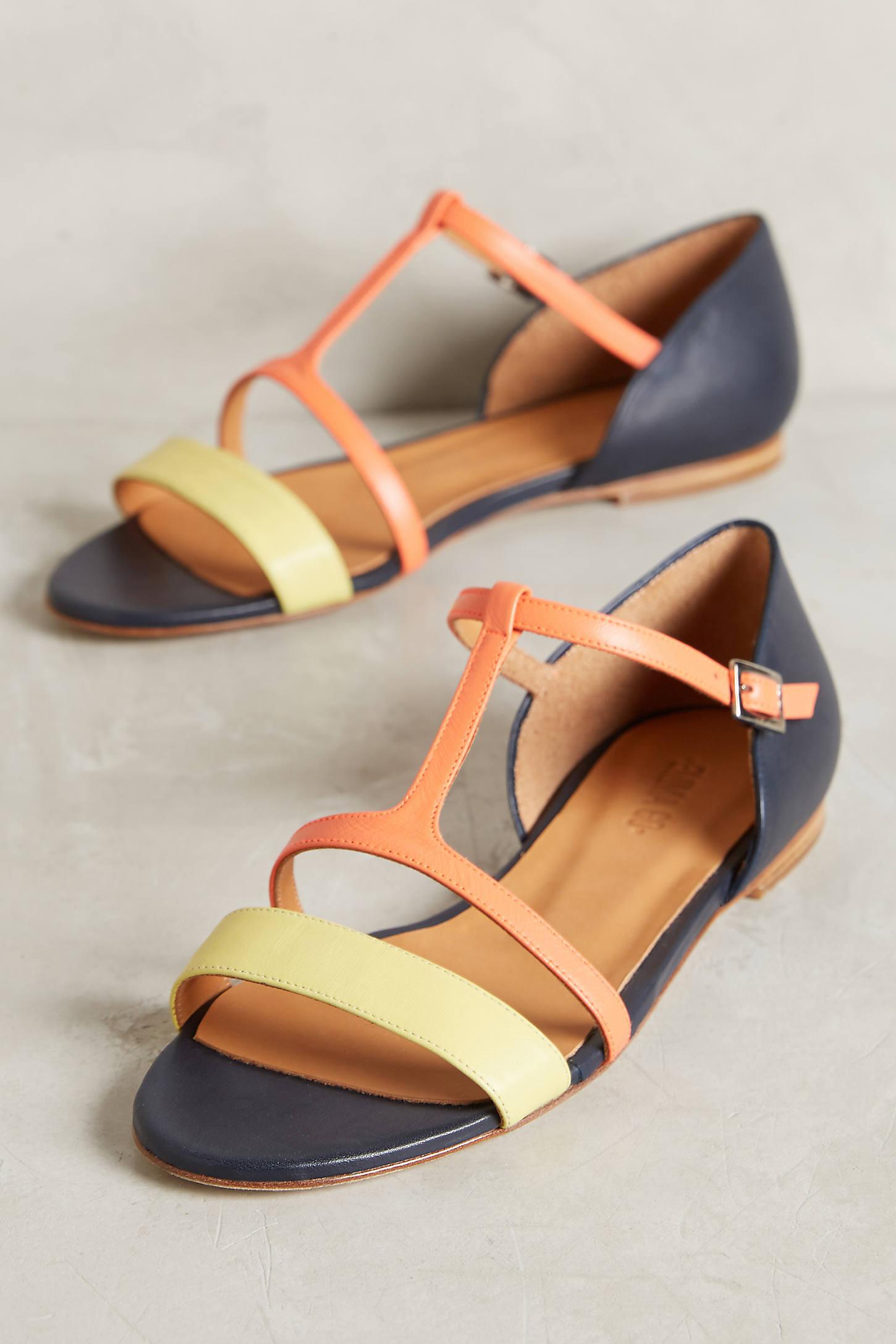 Paint Splatter T-Strap Sandals