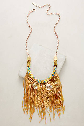 Golden Tassel Bib Necklace