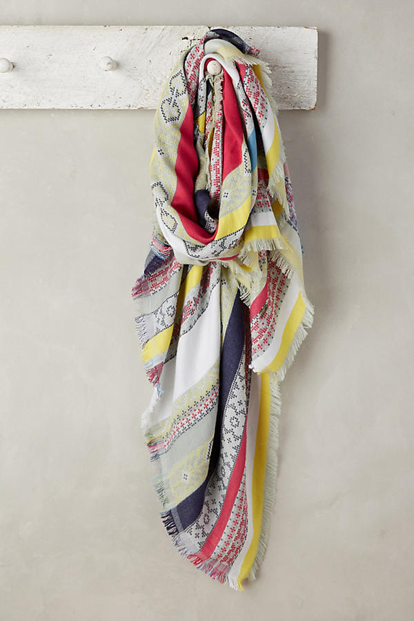 Slide View: 1: Striped Jacquard Scarf