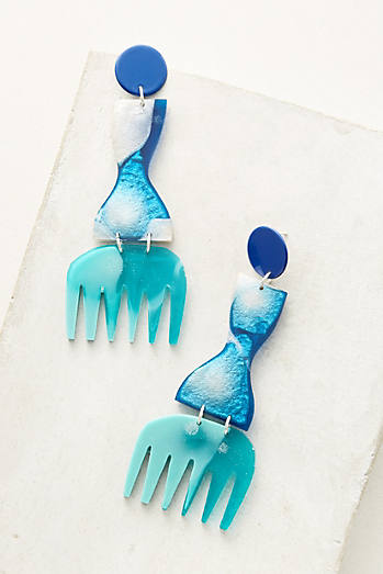 Curve & Comb Drop Earrings