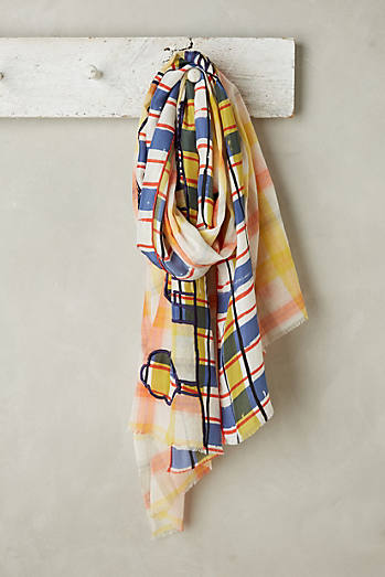 Embroidered Plaid Scarf