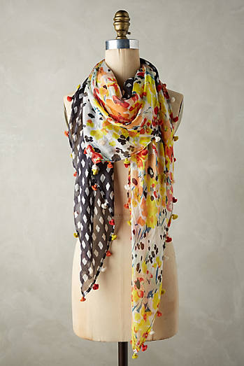 Silk Checkered Floral Scarf