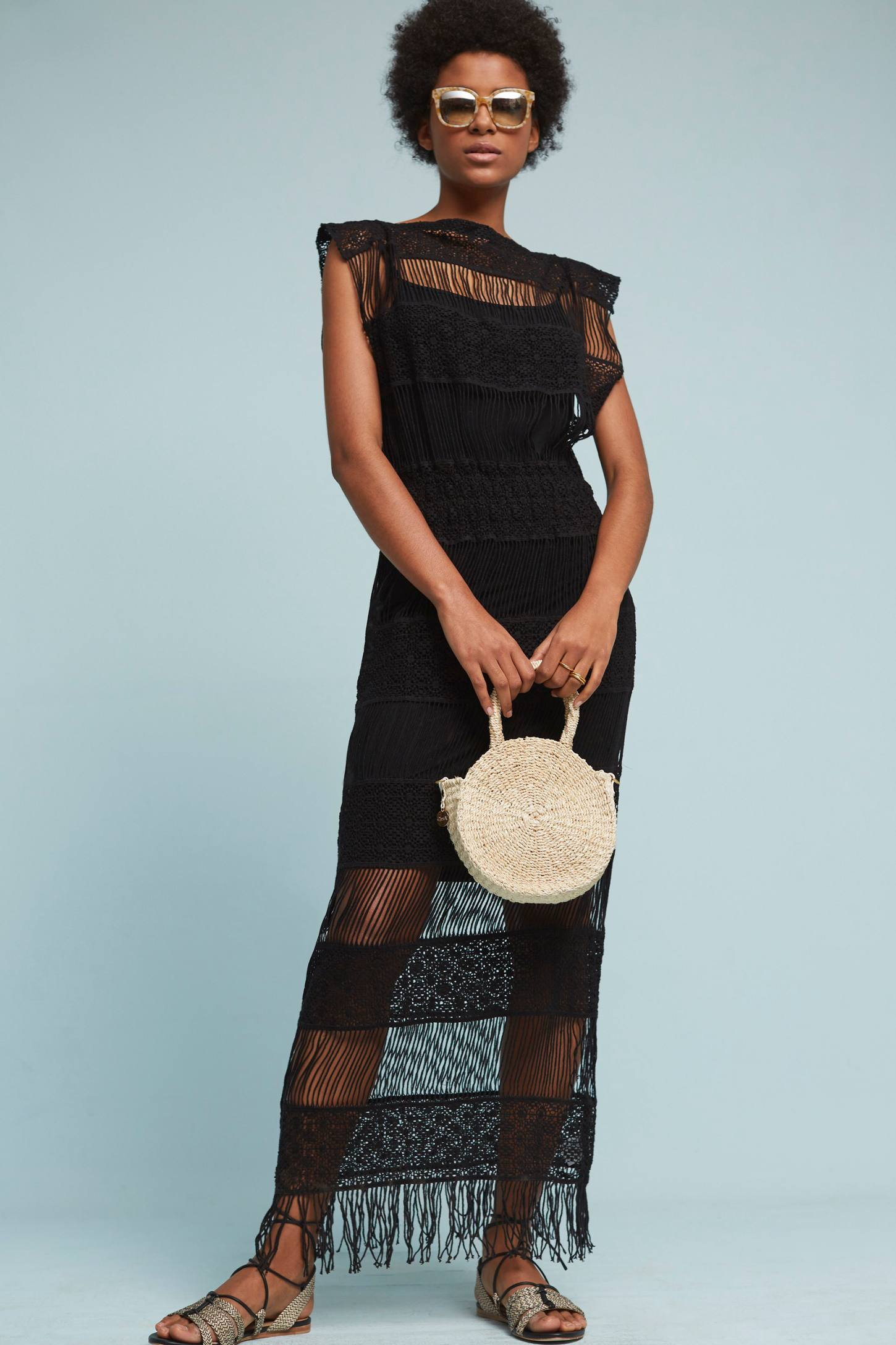 Slide View: 1: Amelia Crocheted Maxi Dress