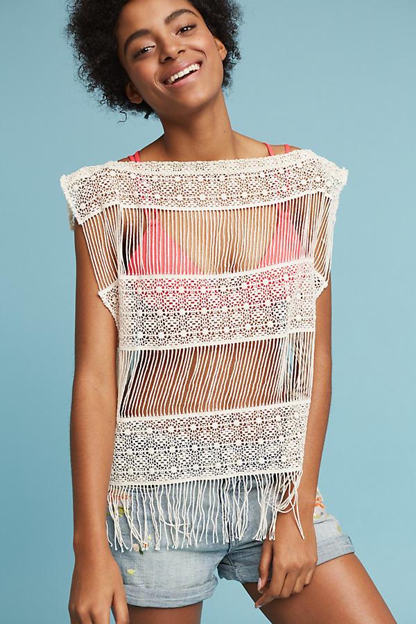 Inez Crocheted Top, White - Cream, Size Xs