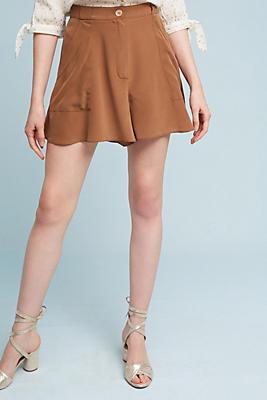 Slide View: 1: Hanky-Hem Silk Shorts