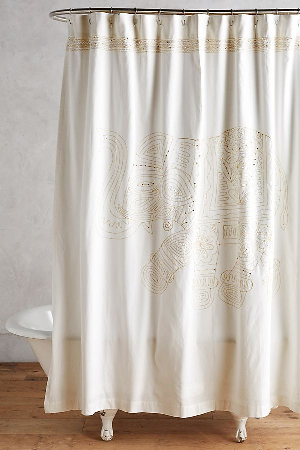 Embroidered Elephant Shower Curtain