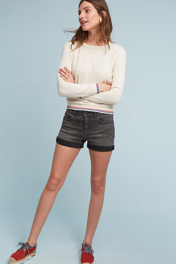 Pilcro Script High-Rise Shorts - Black, Size 32
