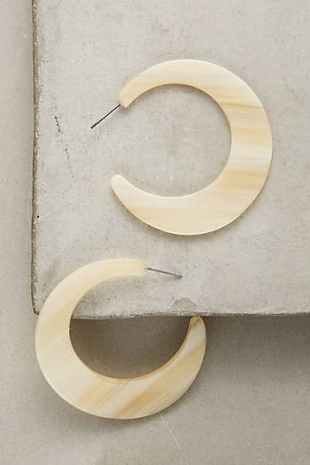 Resin Moon Hoop Earrings