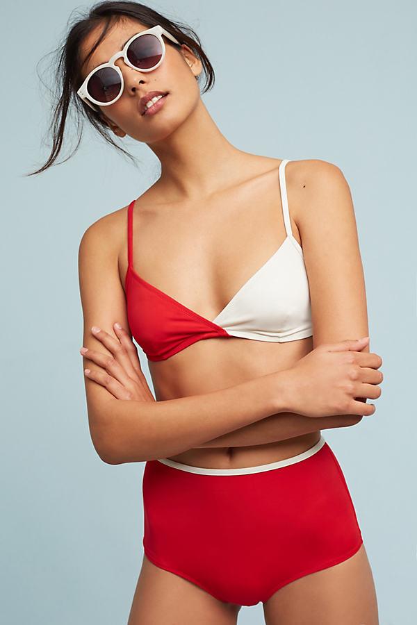 Solid & Striped Brigitte Bikini Bottoms - Red Motif, Size Xs
