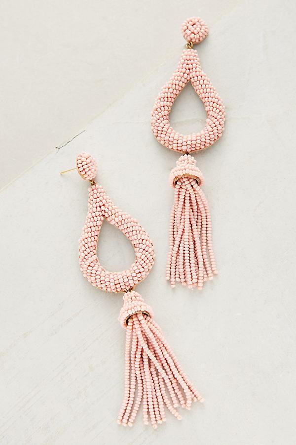 Jasmine Tassel Drop Earrings - Pink