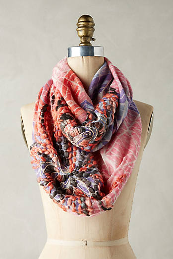 Abstract Embroidered Infinity Scarf