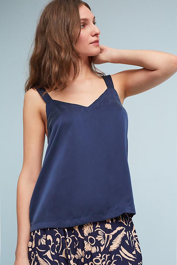 Pammie Silk Camisole - Navy, Size Xl