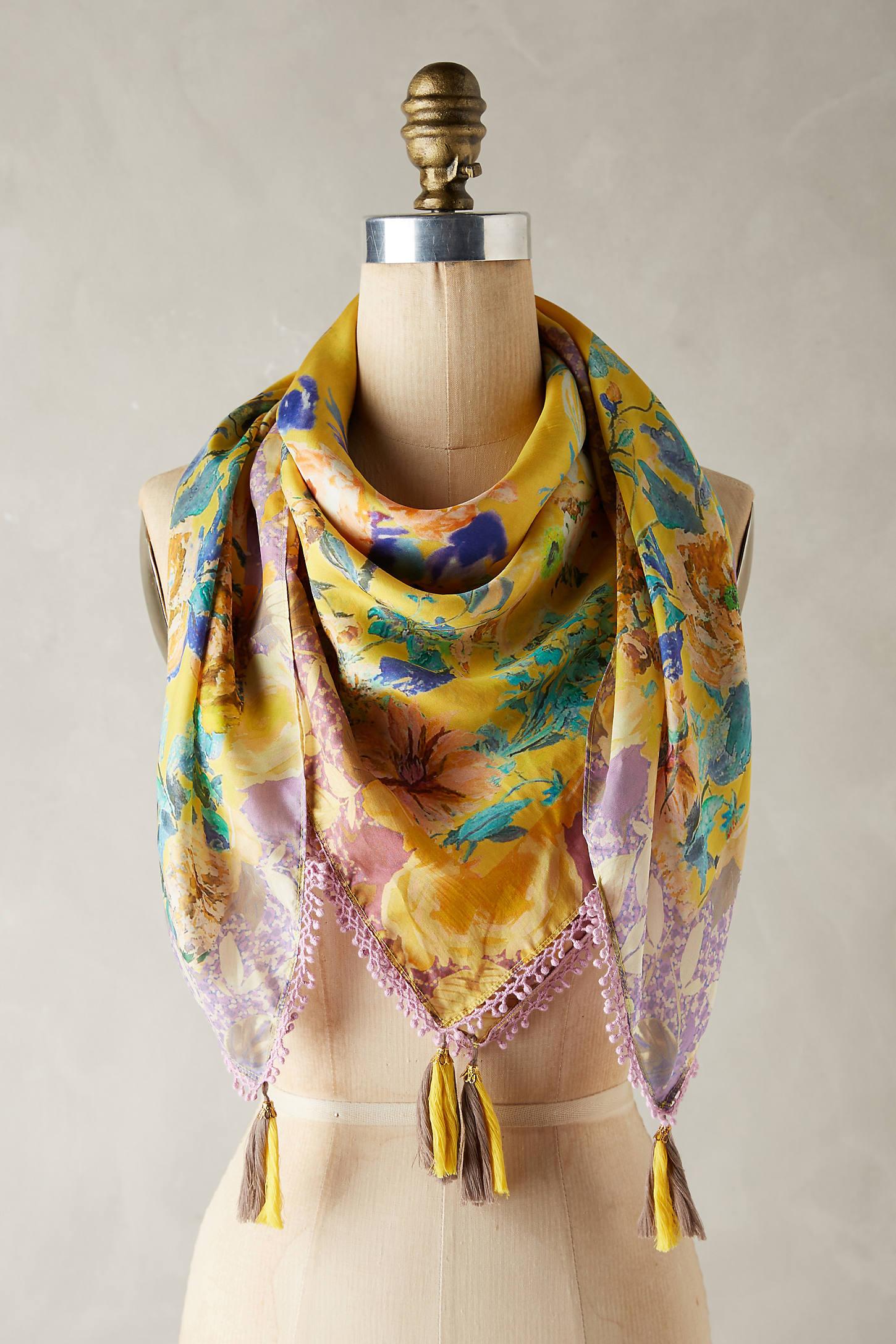 Yellow Bird Silk Scarf