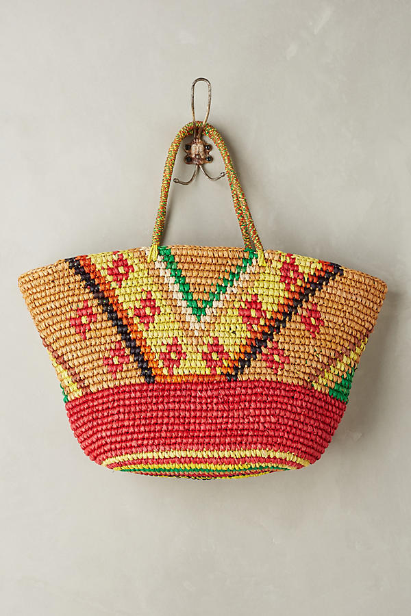 Slide View: 2: Frayed Sunshine Straw Tote