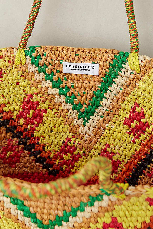 Slide View: 3: Frayed Sunshine Straw Tote