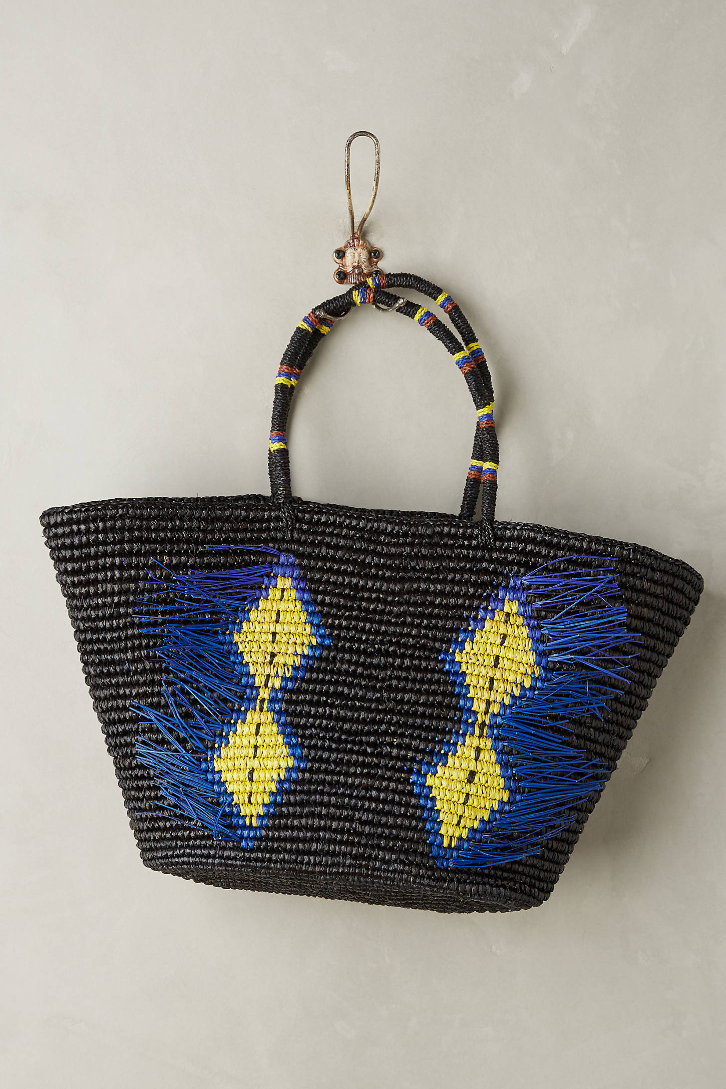 Frayed Diamonds Straw Bag