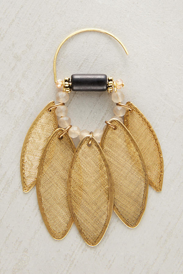 Slide View: 2: Golden Leaf Earrings