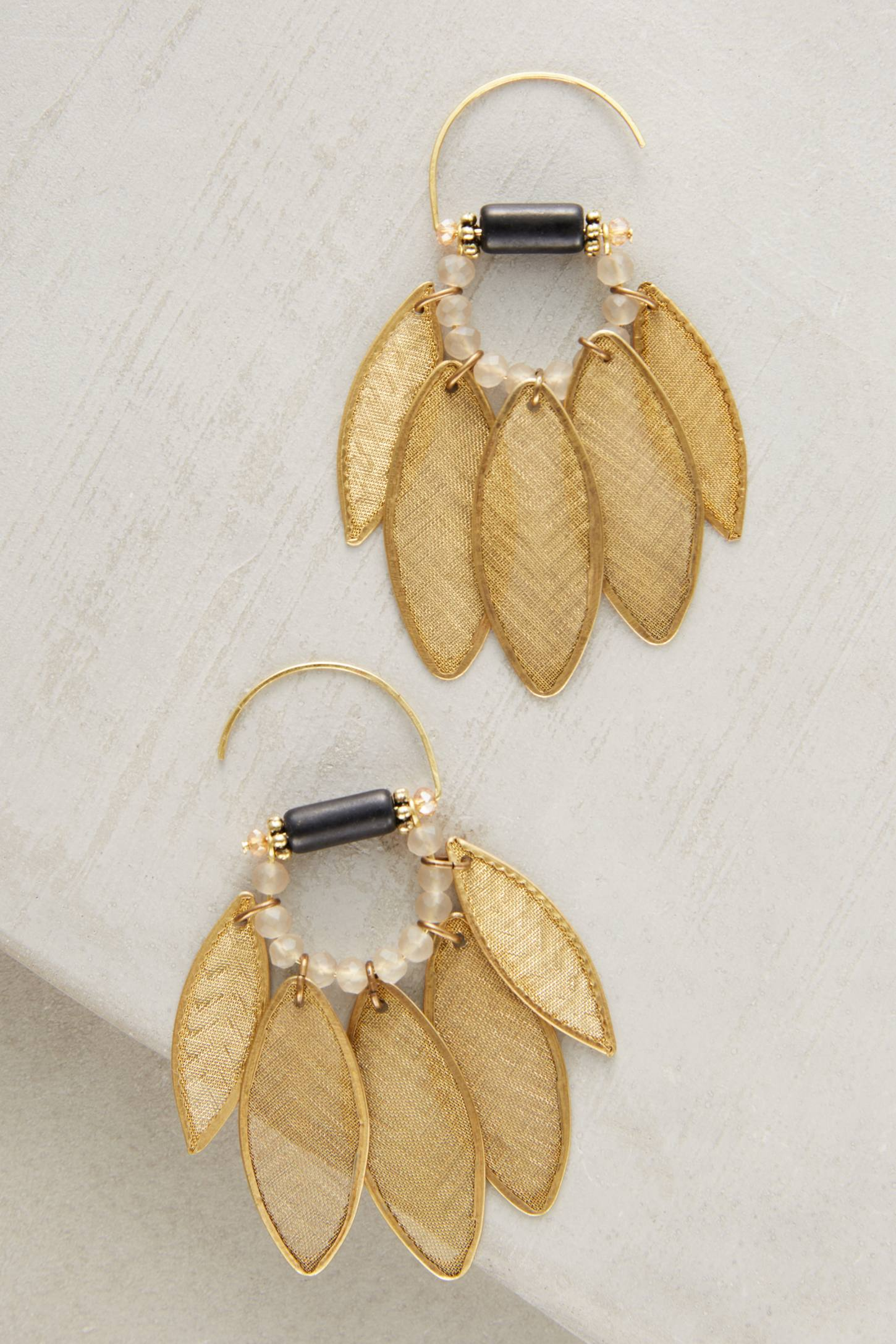 Slide View: 1: Golden Leaf Earrings