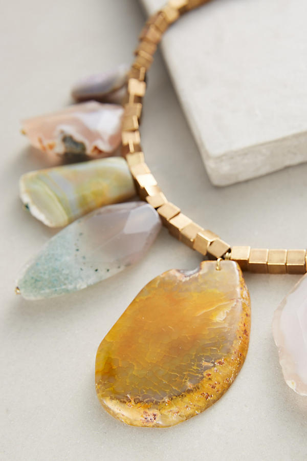 Slide View: 2: Agate Statement Necklace