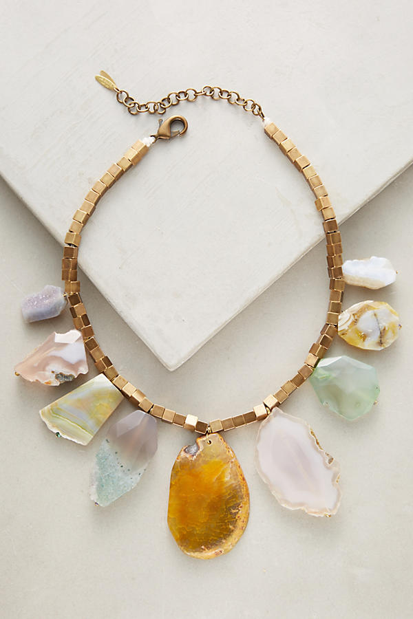 Slide View: 1: Agate Statement Necklace