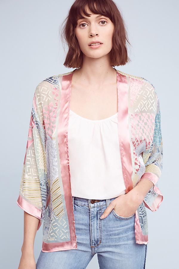 Astra Printed Patchwork Kimono, Pink - Pink