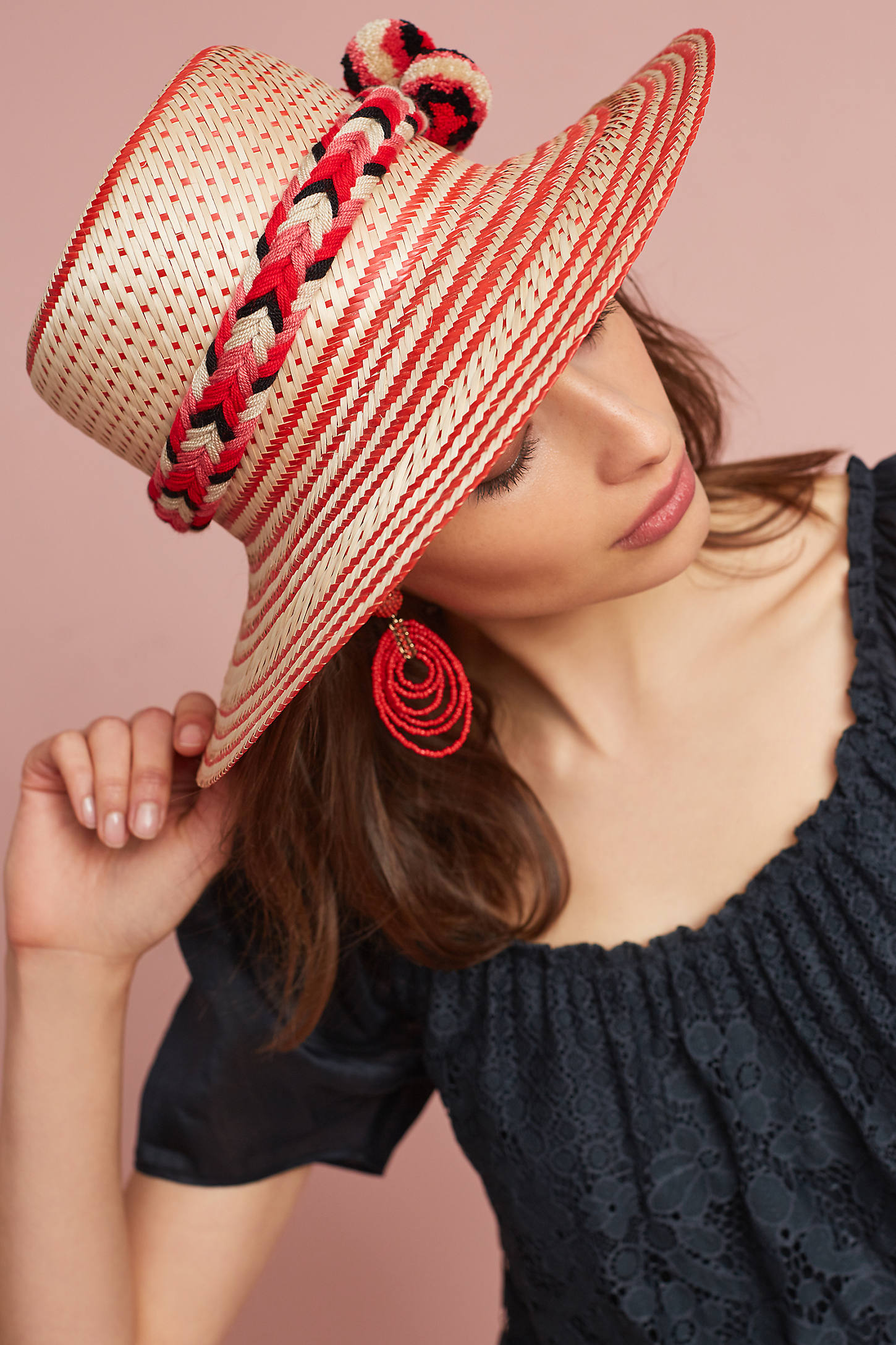 Pommed Stripes Sun Hat