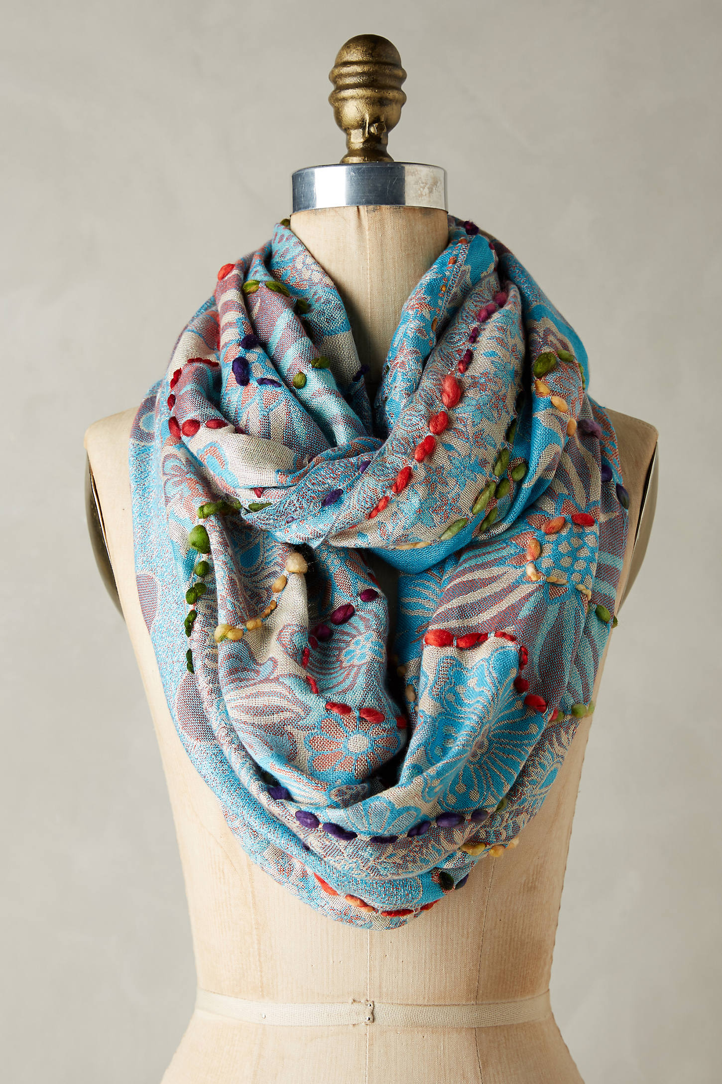 Embroidered Arabesque Infinity Scarf