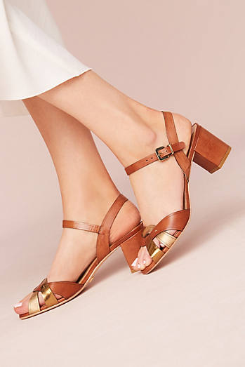 Vicenza Metallic Block Heel Sandals