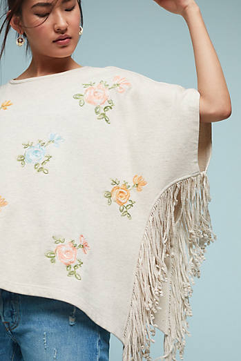 Flowered Fringe Poncho