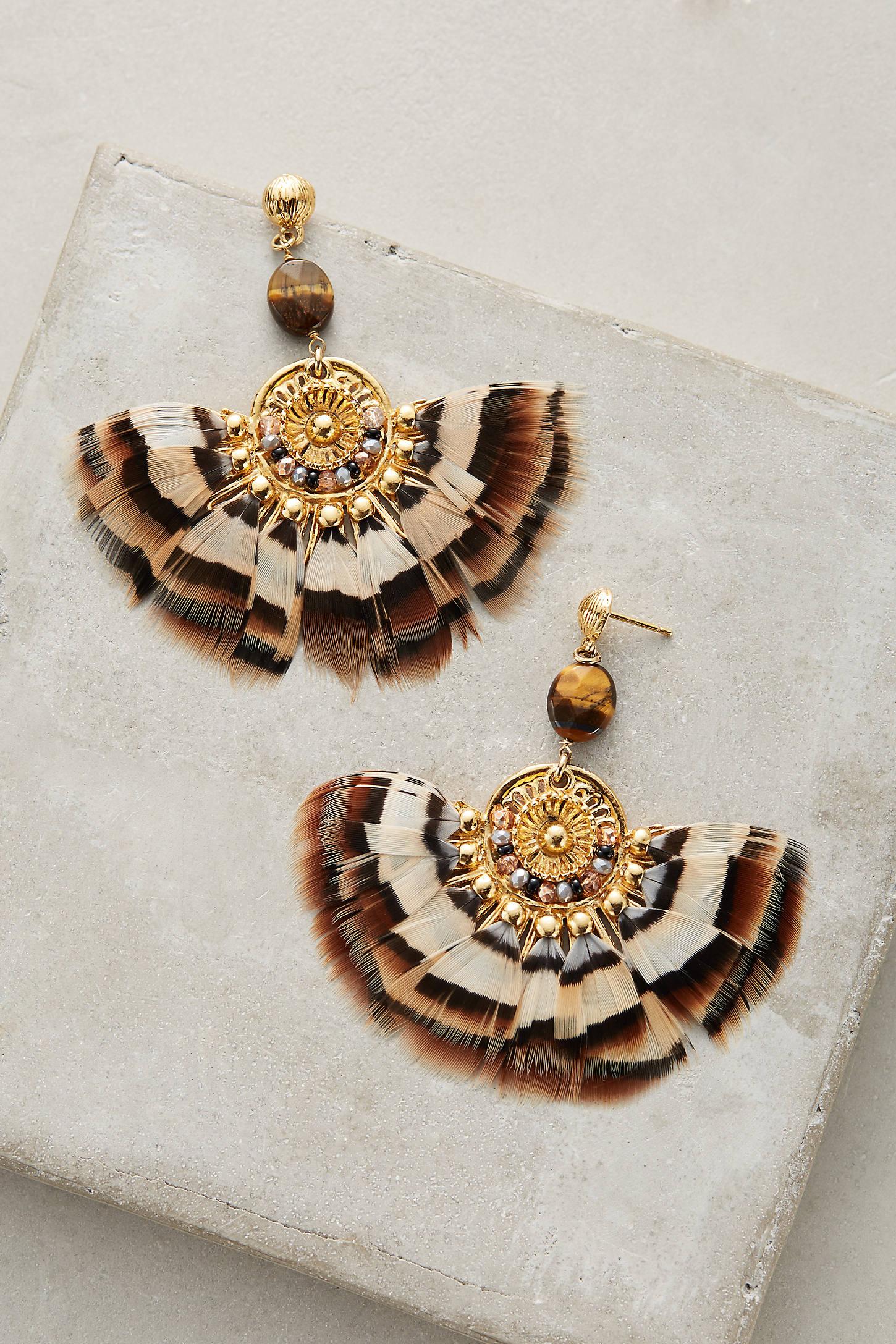 Agaia Feather Drop Earrings