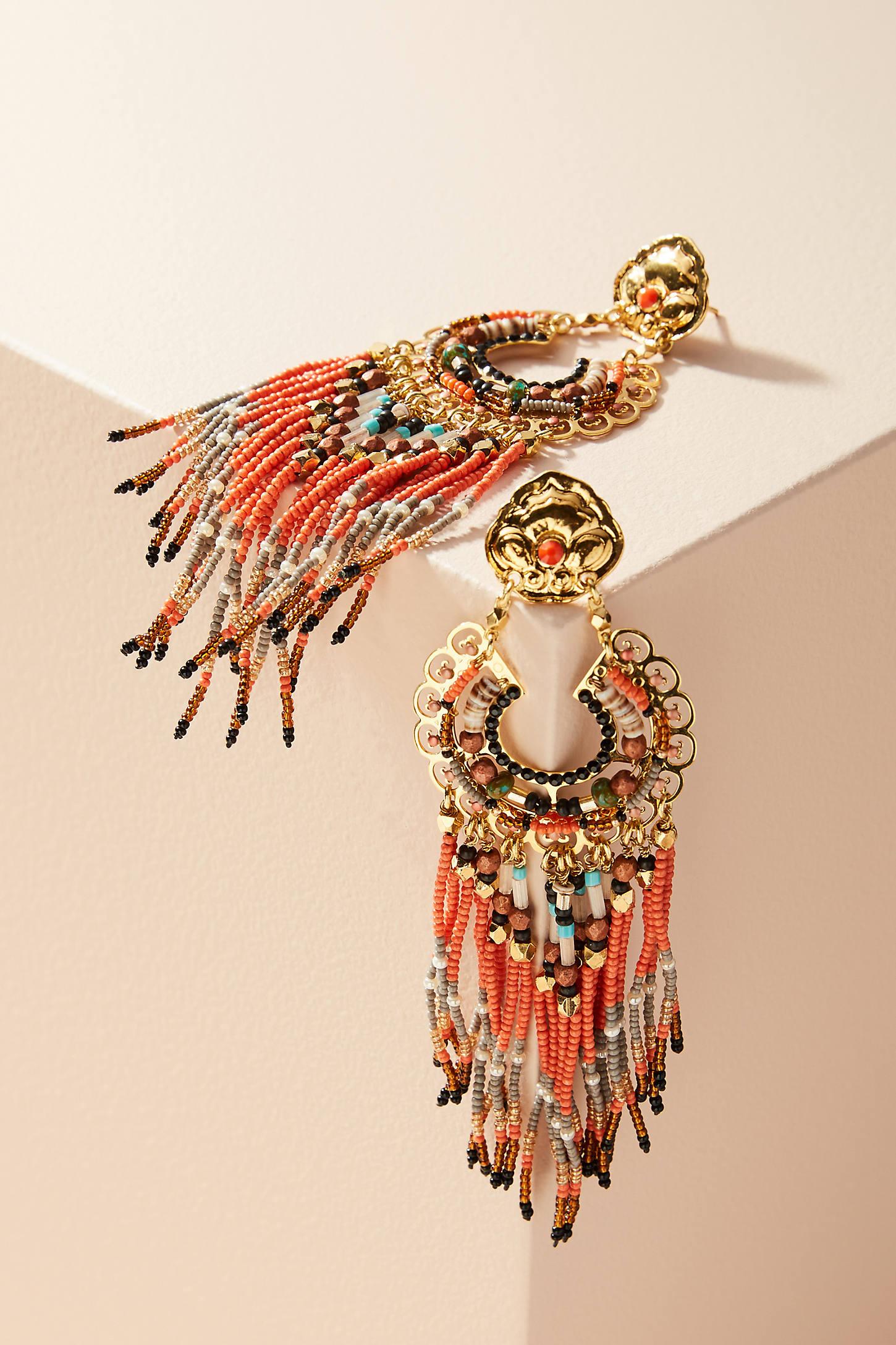 Ornate Beaded Drop Earrings
