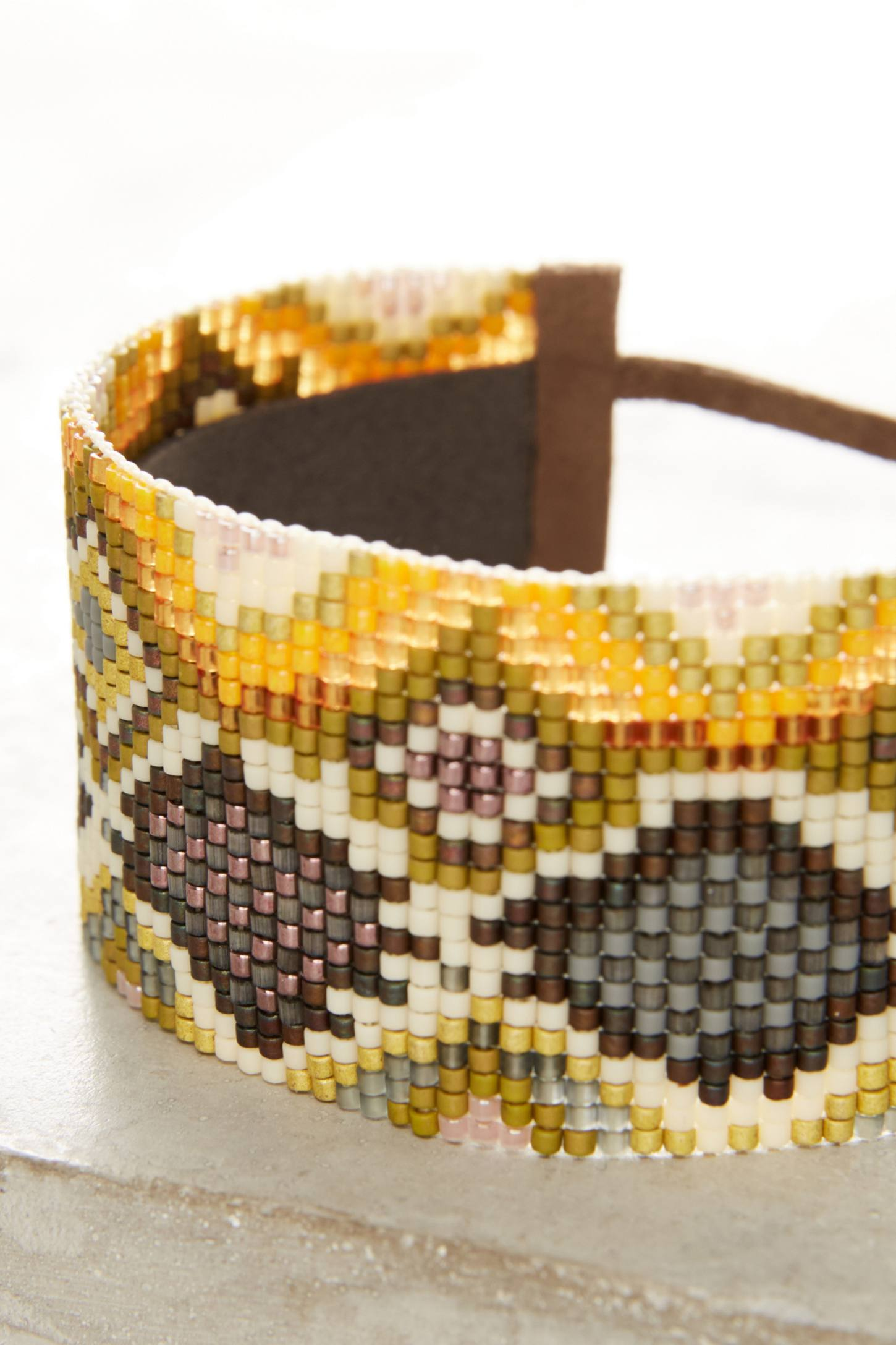 Slide View: 2: Snake-Print Beaded Wrap Bracelet
