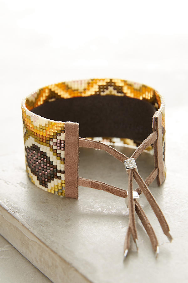 Slide View: 3: Snake-Print Beaded Wrap Bracelet